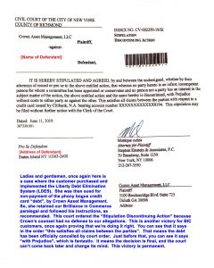 ictory dismissal against Crown Asset Mgmt