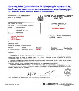Victory dismissal against Midland Funding
